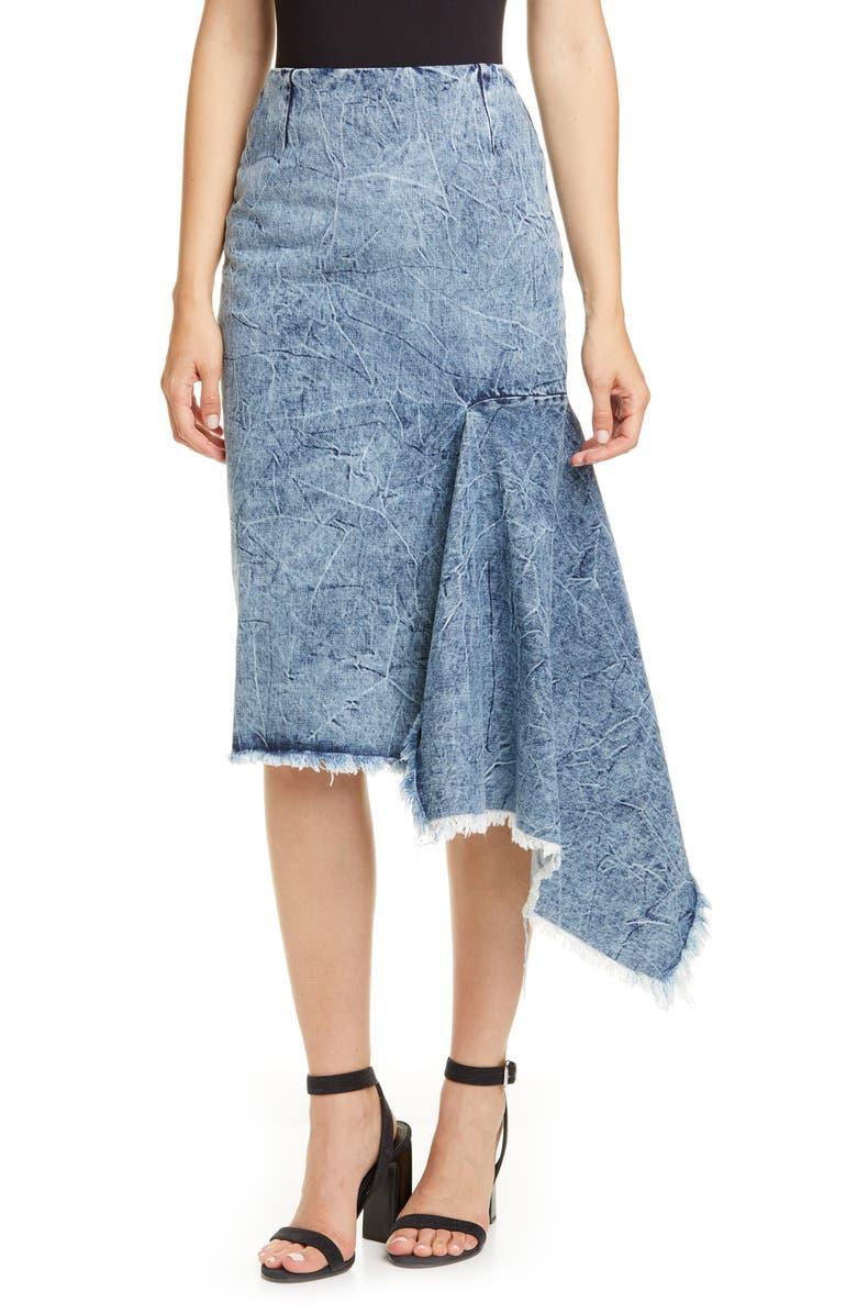 BALENCIAGA Asymmetrical Godet Acid Wash Denim Skirt, Main, color, CRINKLE WASH