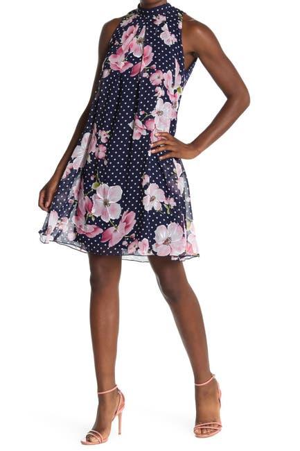 Image of Robbie Bee Floral Polka Dot Swing Dress