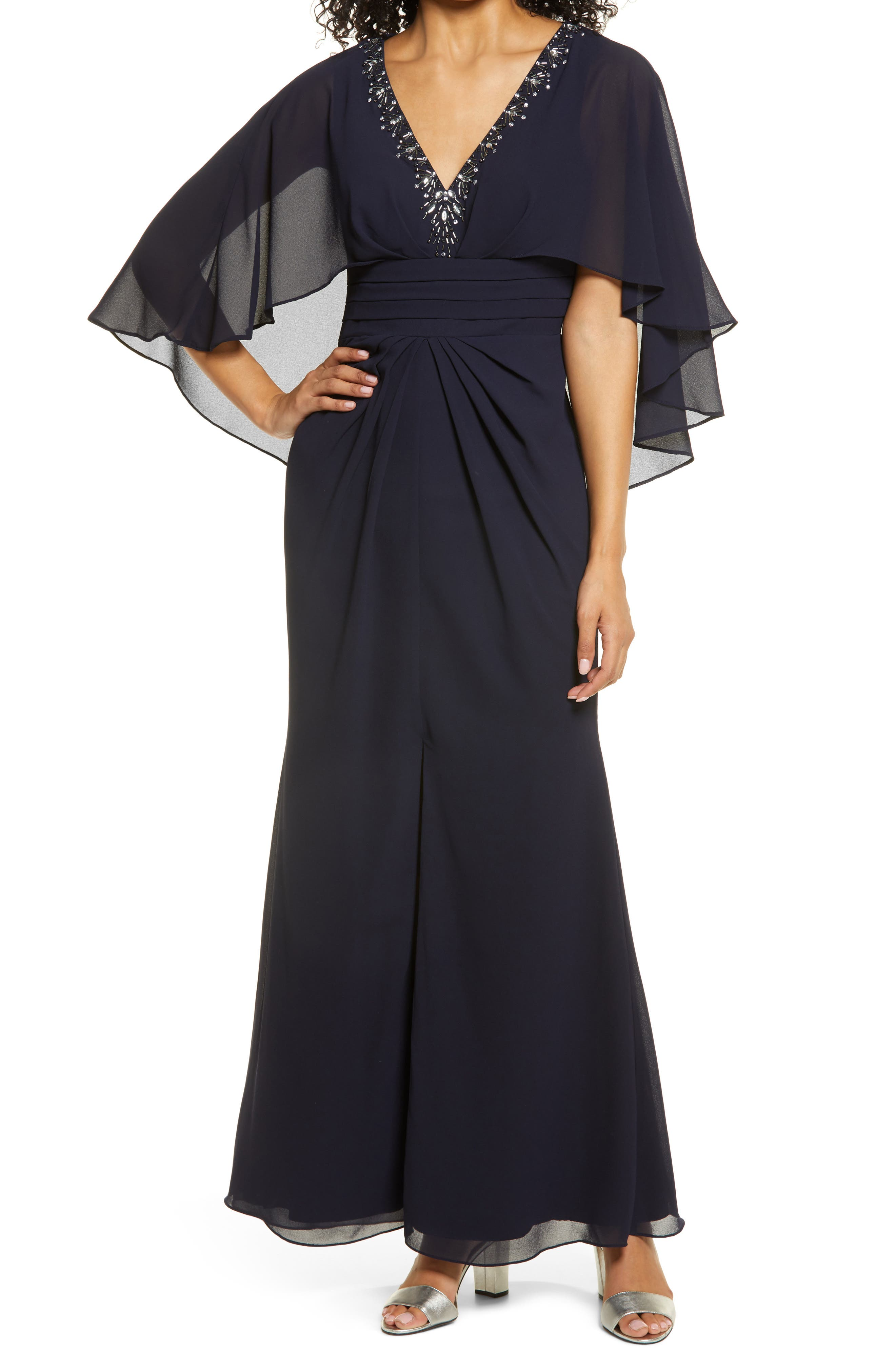 Image of Vince Camuto Beaded Neckline Capelet Gown
