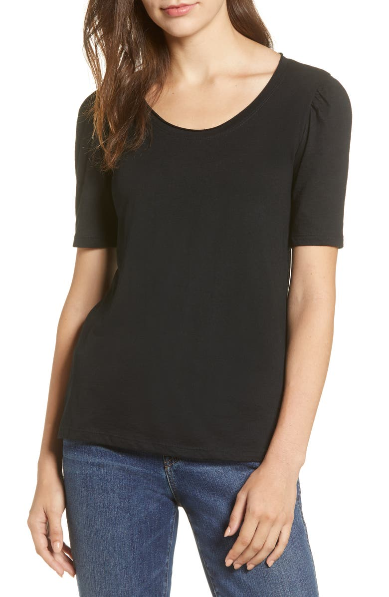 CASLON<SUP>®</SUP> Melinda Puff Sleeve Tee, Main, color, BLACK