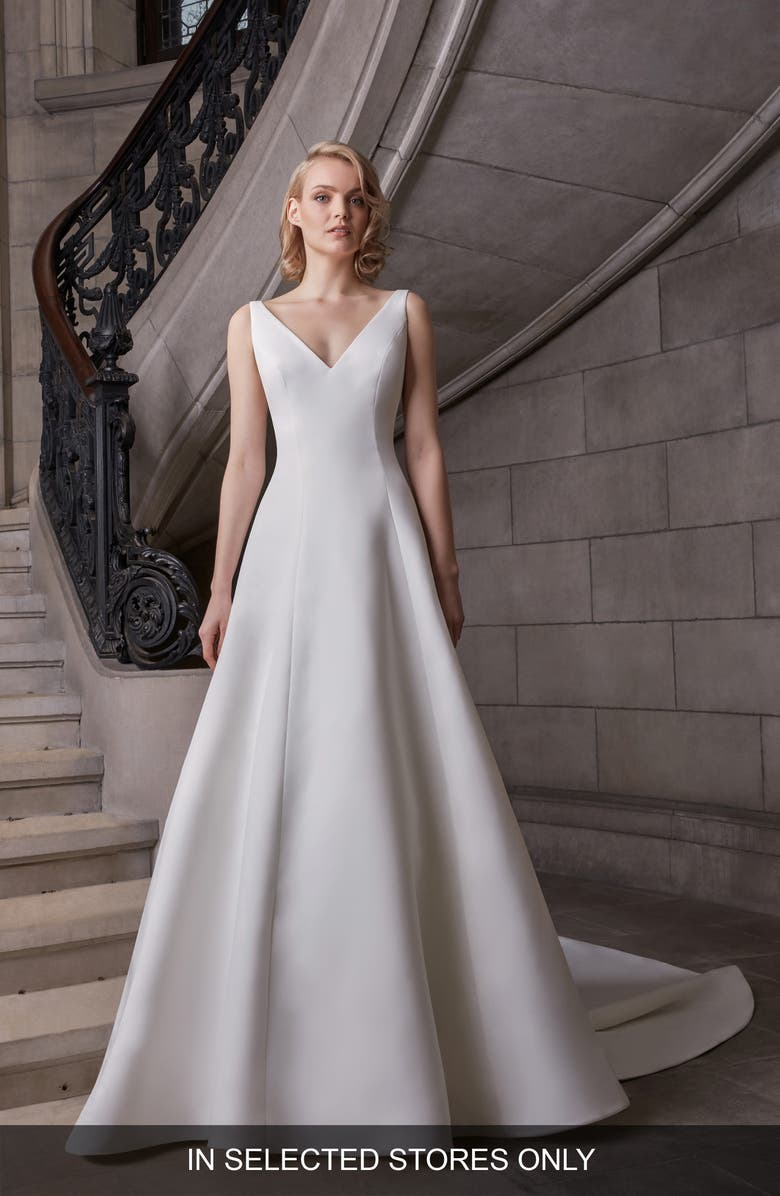 SAREH NOURI Caroline A-Line Wedding Dress, Main, color, WHITE
