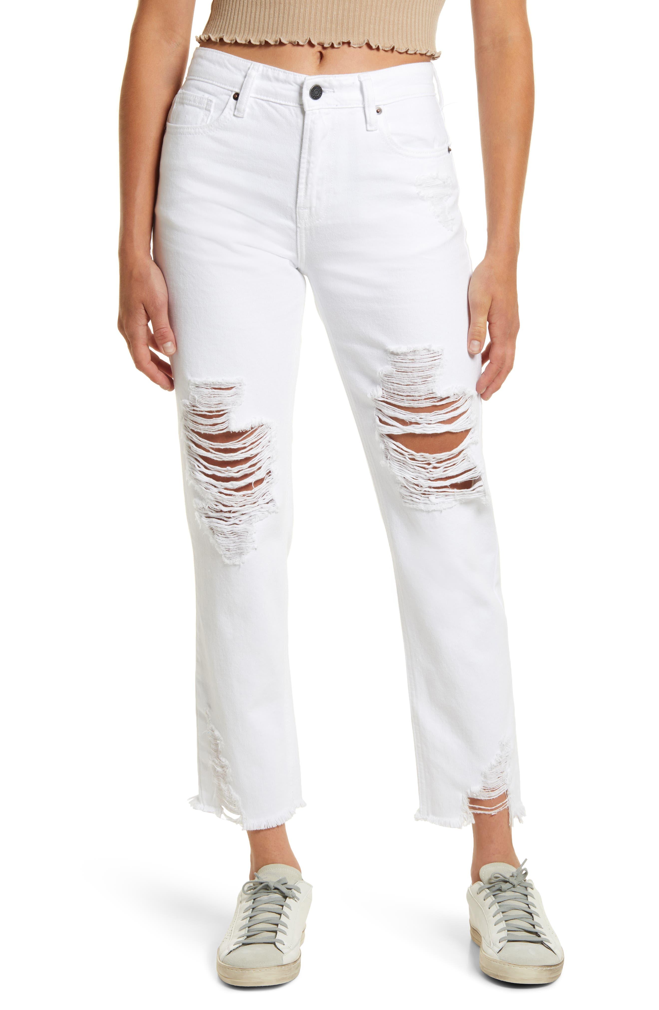 Distressed High Waist Fray Hem Ankle Straight Leg Jeans