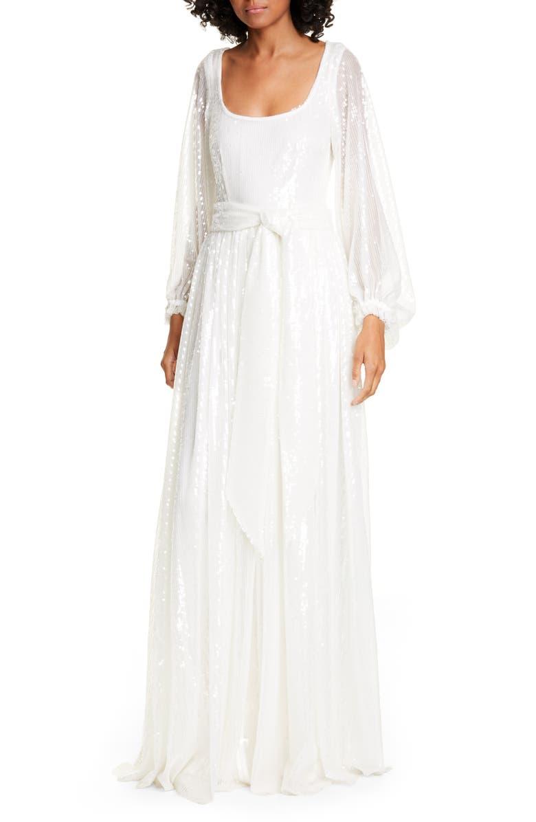 STAUD Pearl Sequin Balloon Sleeve Maxi Dress, Main, color, 100