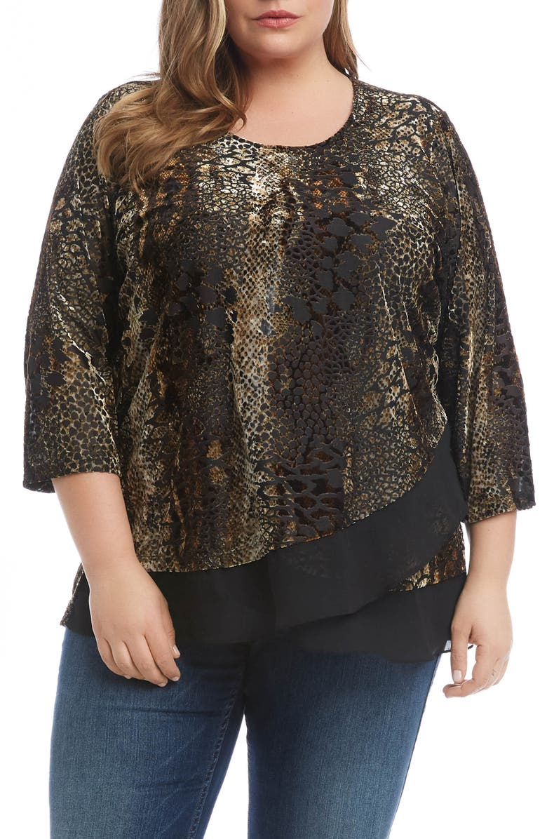 KAREN KANE Sheer Hem Burnout Top, Main, color, BROWN