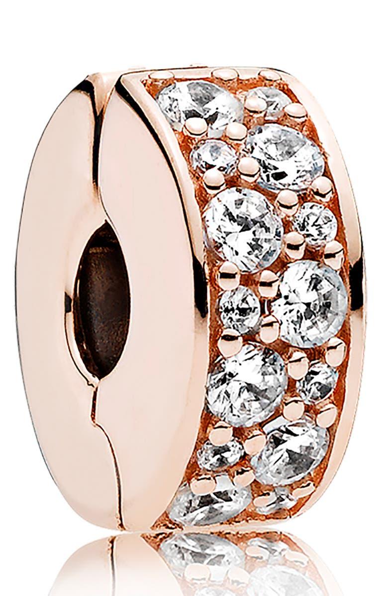 PANDORA Shining Elegance Clip Charm, Main, color, ROSE GOLD