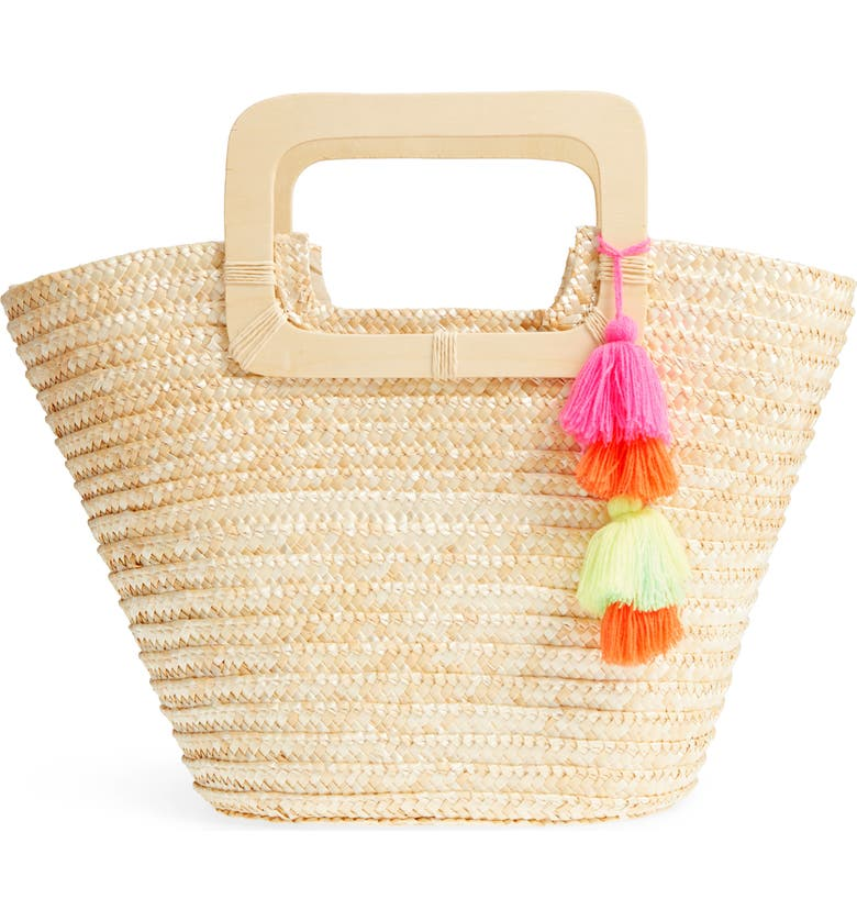 BP. Straw Ring Handle Basket Tote, Main, color, 250