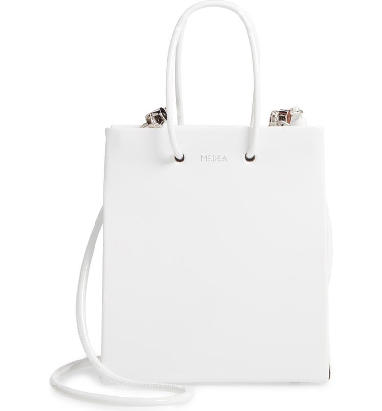 MEDEA Short Vinile Bag, Main, color, WHITE