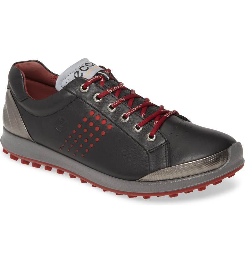 ECCO Biom Hybrid 2 Sneaker Golf Shoe, Main, color, BLACK/ BRICK