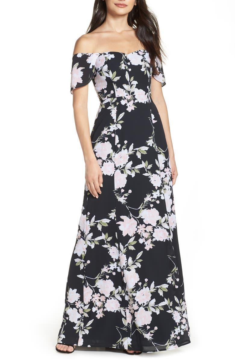 WAYF Rachel Off the Shoulder Gored Maxi Dress, Main, color, 001