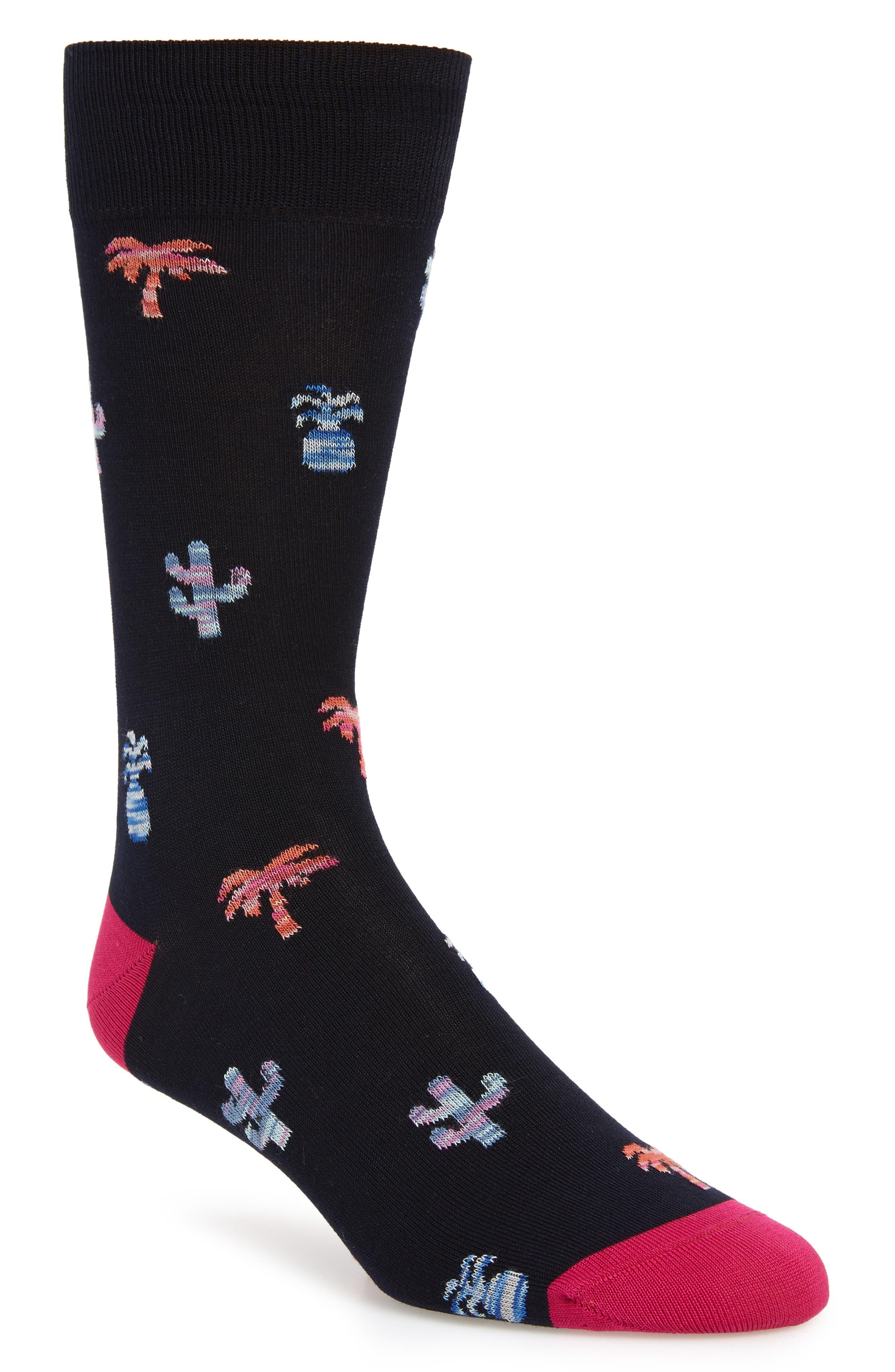 Patterned Mercerized Cotton Blend Socks, Main, color, MIDNIGHT