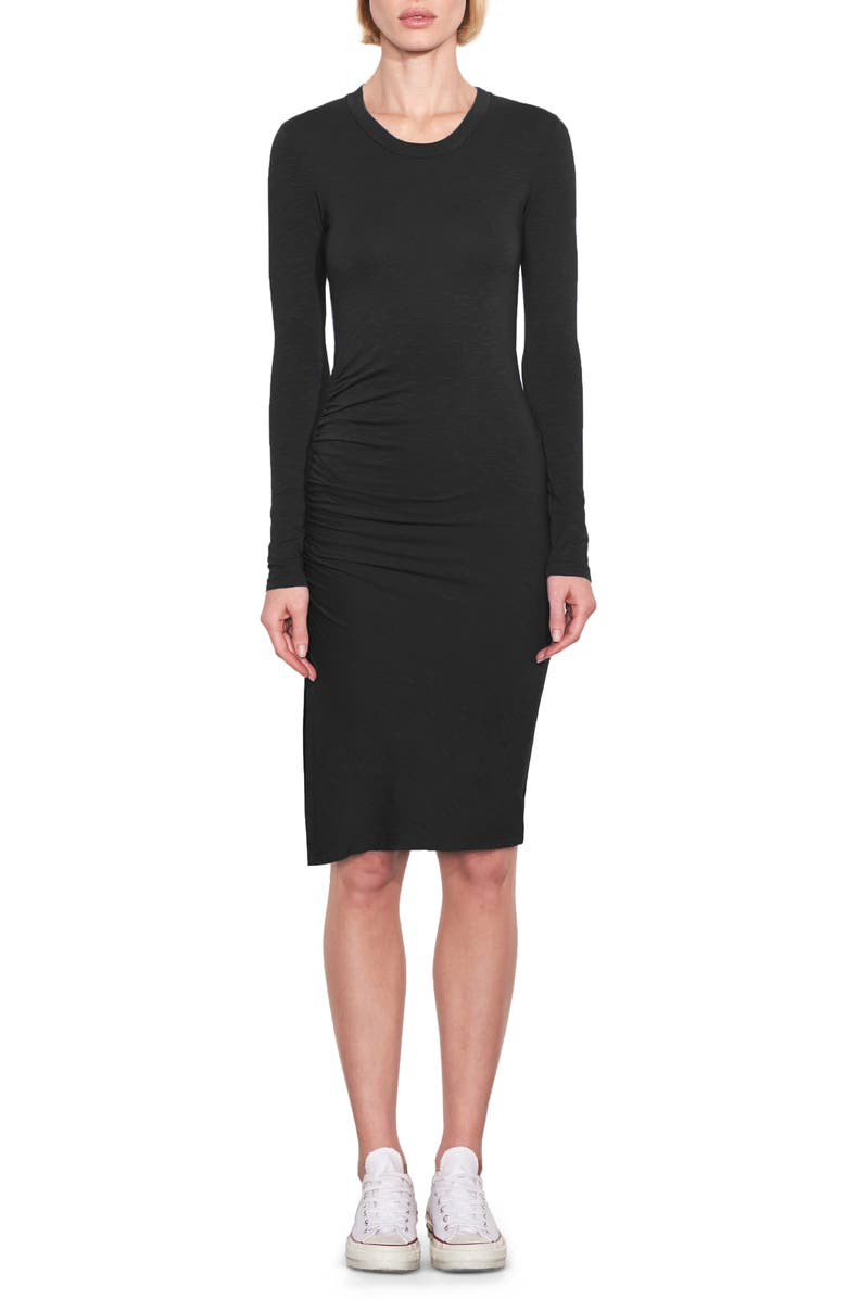 SUNDRY Ruched Long Sleeve T-Shirt Dress, Main, color, BLACK