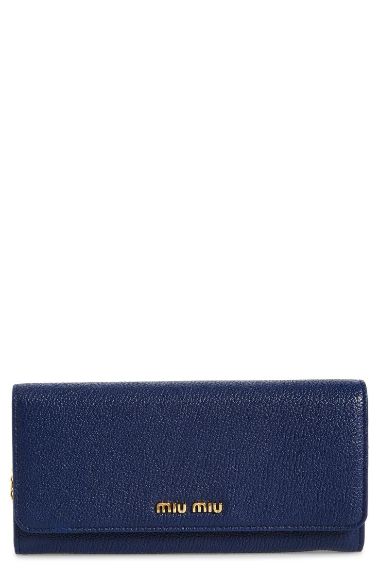 MIU MIU Madras Goatskin Leather Continental Wallet, Main, color, 401