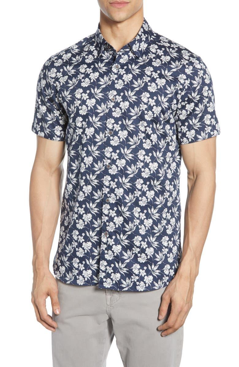 TED BAKER LONDON Kolar Slim Fit Print Shirt, Main, color, NAVY