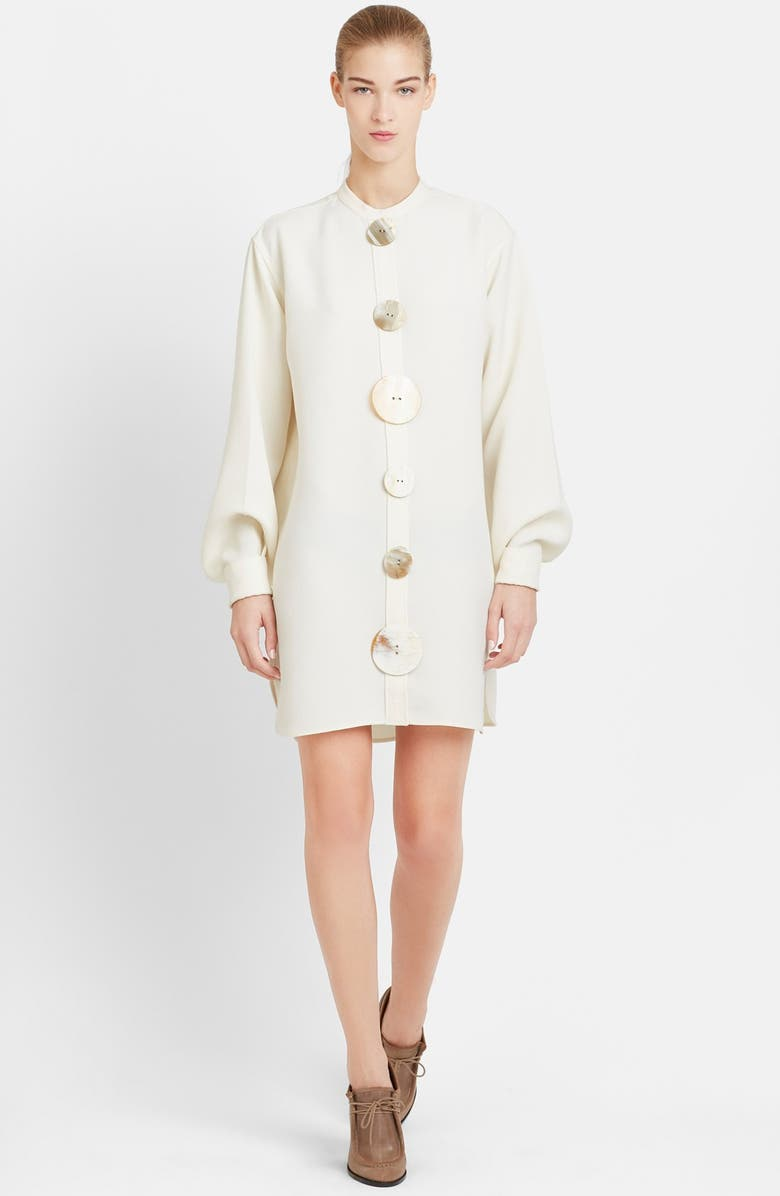 JW ANDERSON J.W.ANDERSON Horn Button Technical Crepe Shirtdress, Main, color, 900