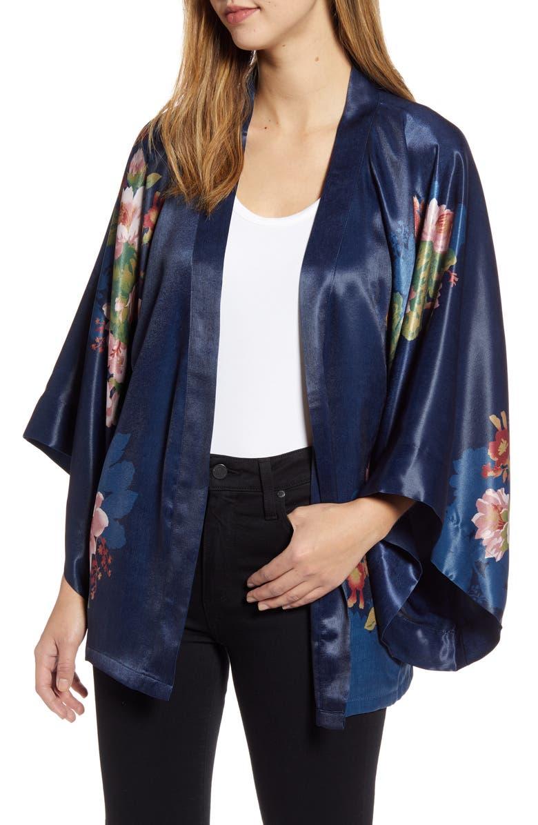 NORDSTROM Floral Satin Open Jacket, Main, color, NAVY MINTHE KIMONO