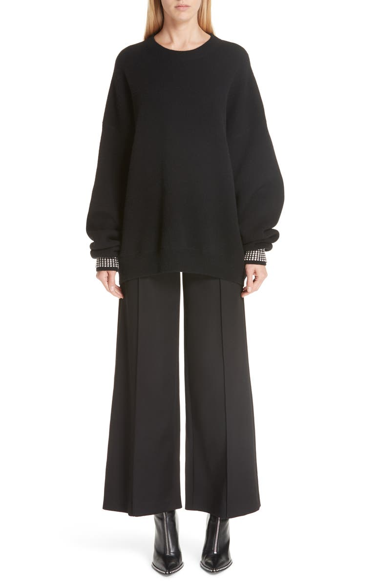 ALEXANDER WANG Crystal Cuff Wool Blend Sweater, Main, color, BLACK