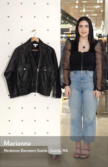 Oversize Leather Biker Jacket, sales video thumbnail