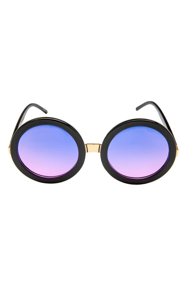RAD + REFINED Gradient Tinted Round Sunglasses, Main, color, GRADIENT PURPLE LENS