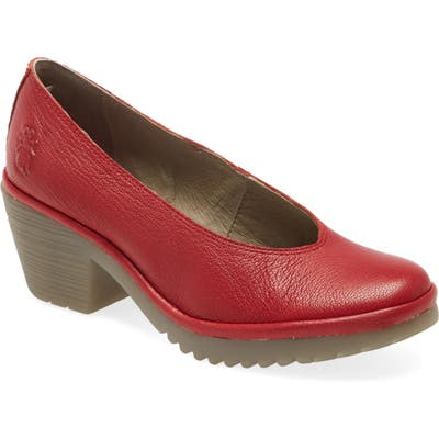 Fly London Walo Pump,10.5- Red