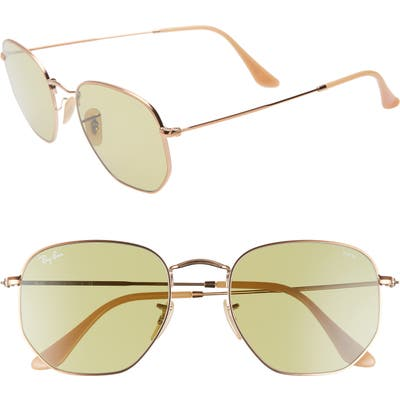 Ray-Ban 5m Evolve Photochromic Hexagon Sunglasses - Gold/ Green Solid