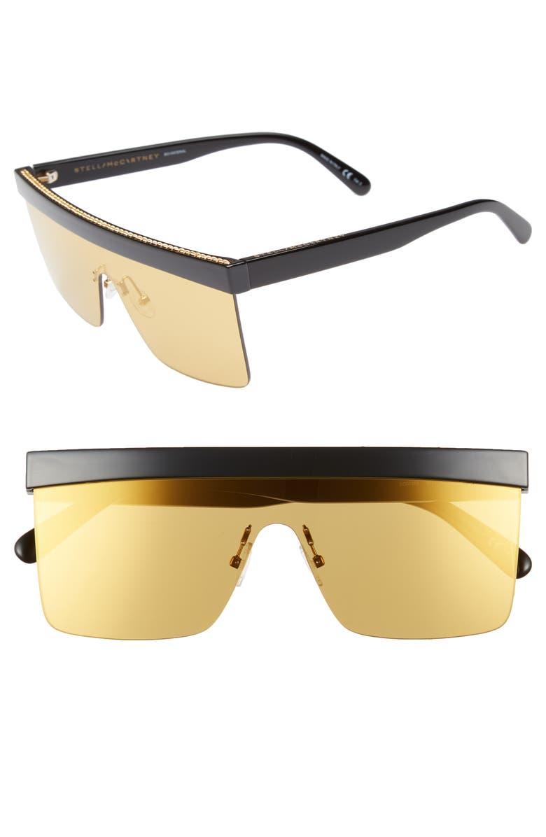 STELLA MCCARTNEY 99mm Shield Sunglasses, Main, color, BLACK