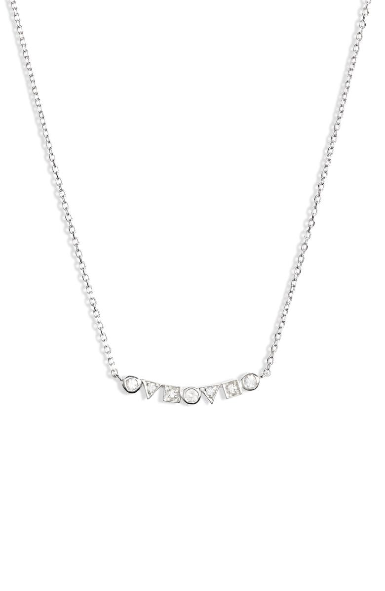 ANZIE Cleo Geo Sapphire Bar Pendant Necklace, Main, color, SILVER/ WHITE SAPPHIRE