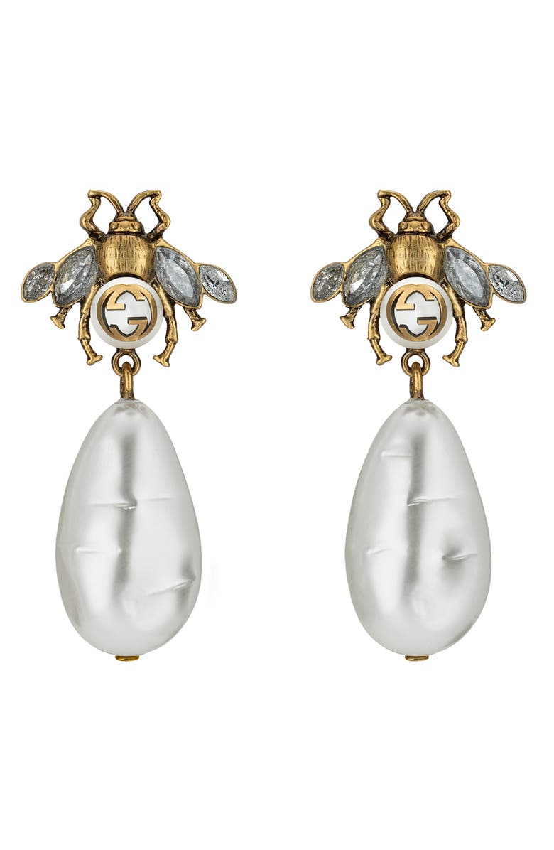 GUCCI Bee Drop Earrings, Main, color, GOLD
