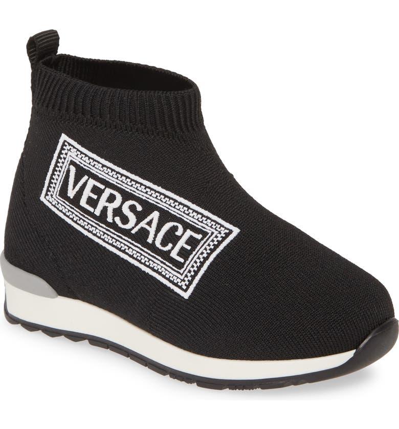 VERSACE Logo Sock Sneaker, Main, color, BLACK/ WHITE