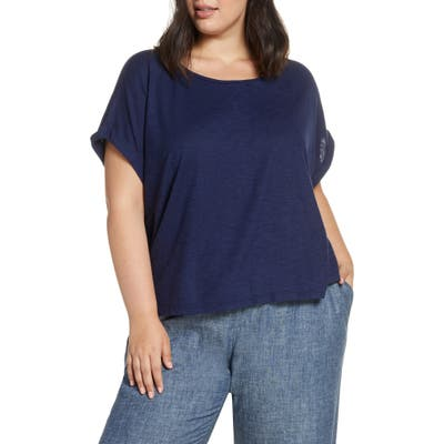 Plus Size Eileen Fisher Scoop Neck Tee, Blue