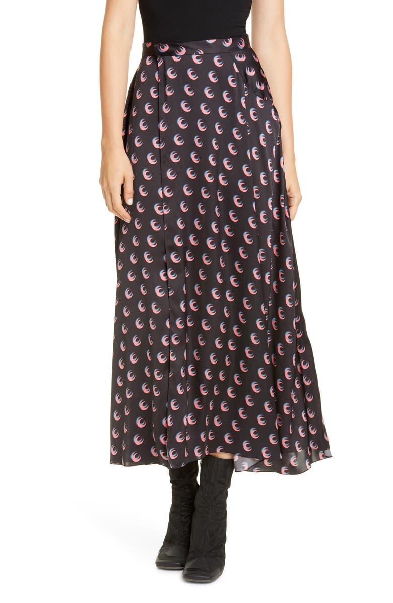 MARINE SERRE Moon Print Midi Wrap Skirt, Main, color, MOON SHADOW BLACK/ PINK