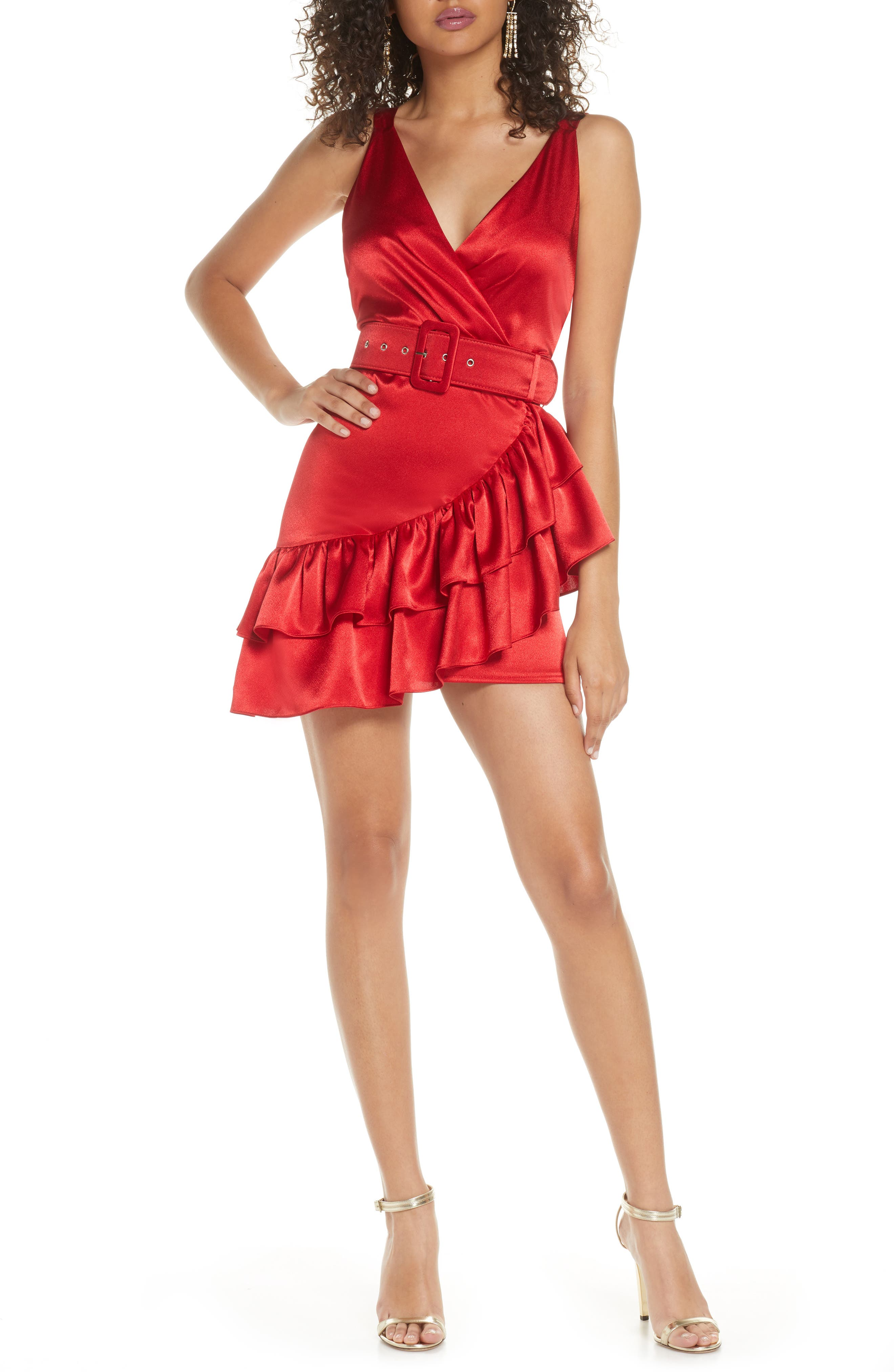 80s Dresses   Casual to Party Dresses Womens Bronx And Banco Paloma Belted Satin Minidress $138.00 AT vintagedancer.com