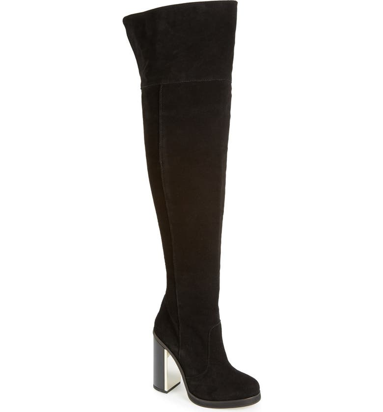 TOPSHOP 'Carbon' Over the Knee Boot, Main, color, Black