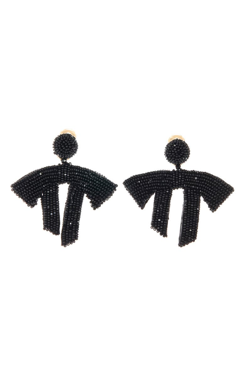 OSCAR DE LA RENTA Drape Beaded Clip-On Earrings, Main, color, 001