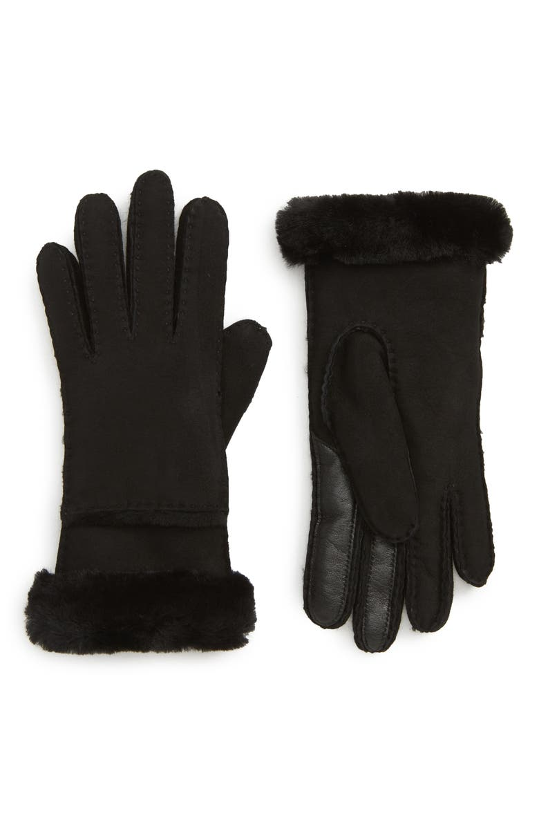 UGG<SUP>®</SUP> Seamed Touchscreen Compatible Genuine Shearling Lined Gloves, Main, color, BLACK