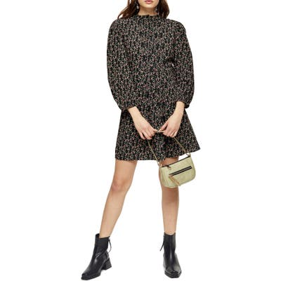 Petite Topshop Floral Long Sleeve Minidress, P US - Black