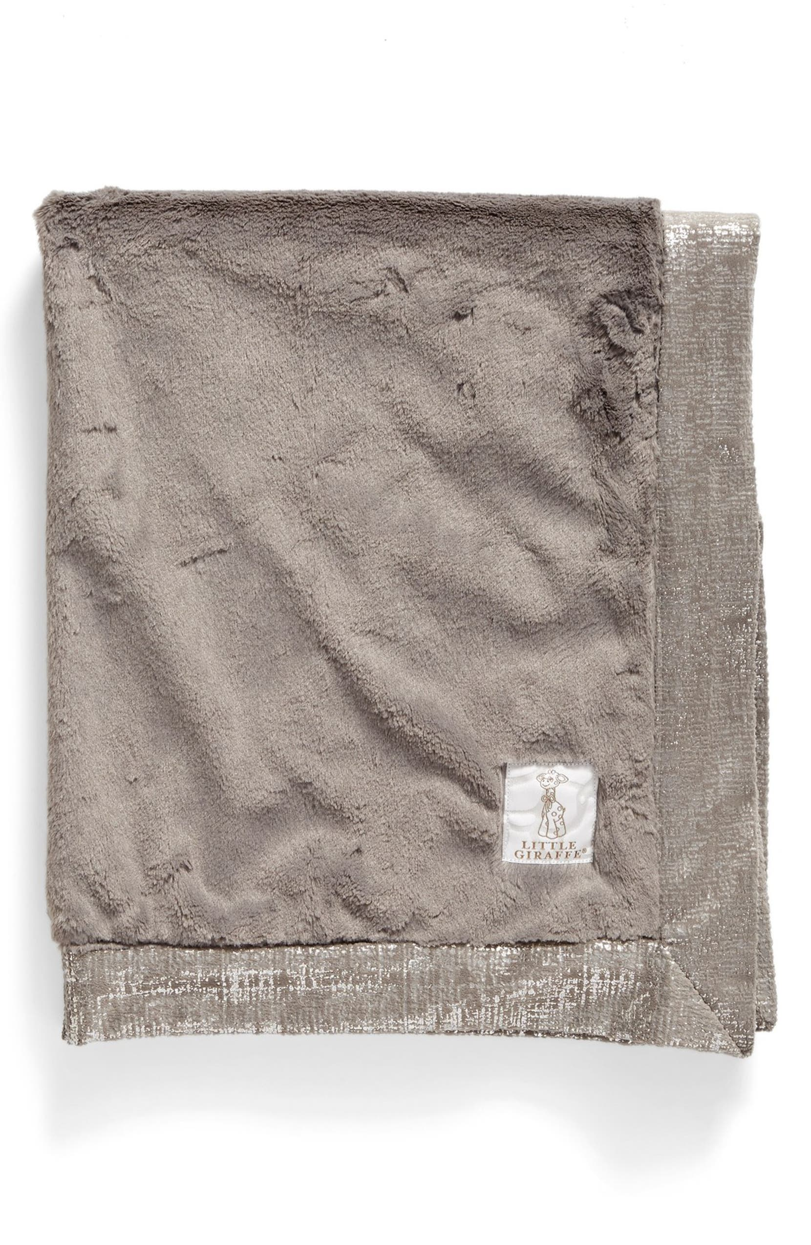 LITTLE GIRAFFE Luxe Lustre<sup>™</sup> Rain Blanket, Main, color, CHARCOAL