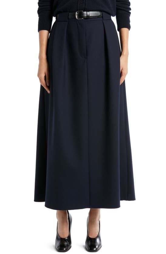 The Row JAAKO PLEATED STRETCH WOOL SKIRT