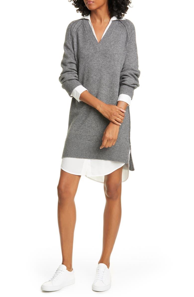 BROCHU WALKER Looker Layered Long Sleeve Wool & Cashmere Sweater Dress, Main, color, 020