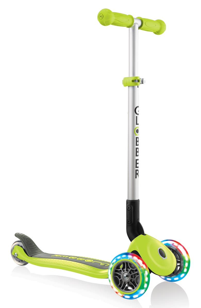 GLOBBER Primo Light-Up Wheels Foldable Scooter, Main, color, LIME GREEN