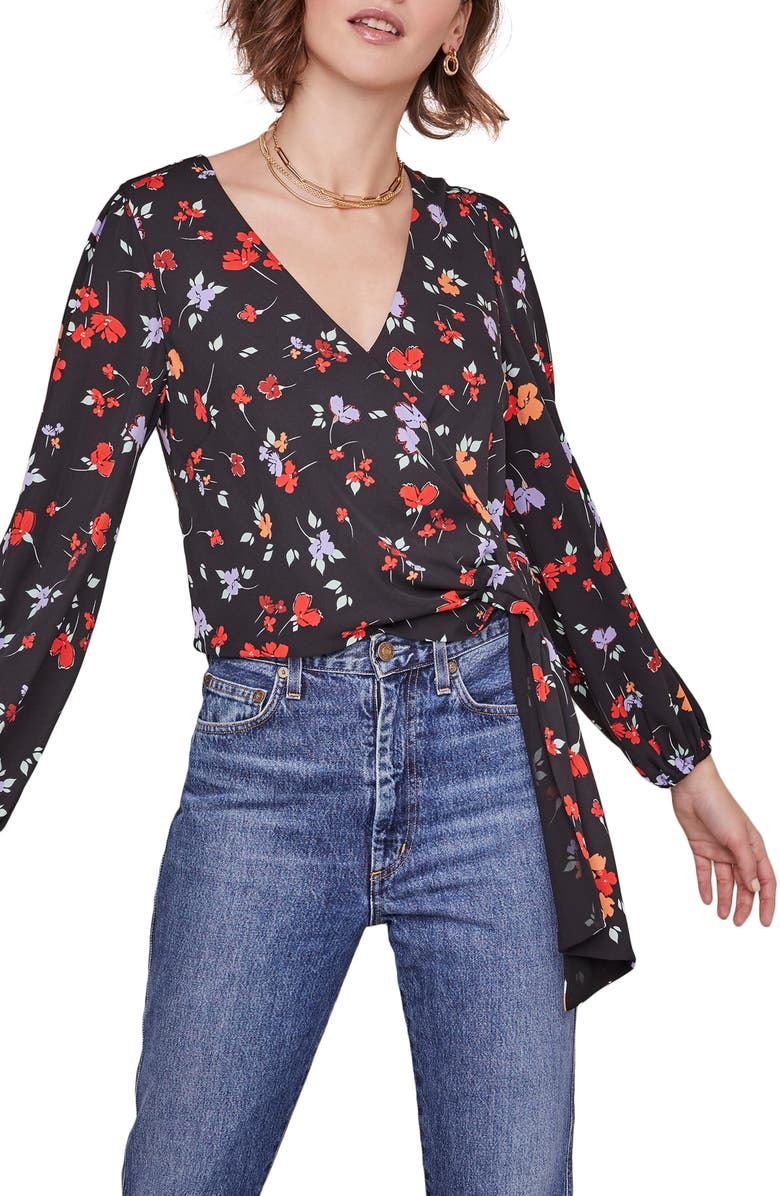 ASTR THE LABEL Melanie Floral Wrap Top, Main, color, BLACK MULTI FLORAL