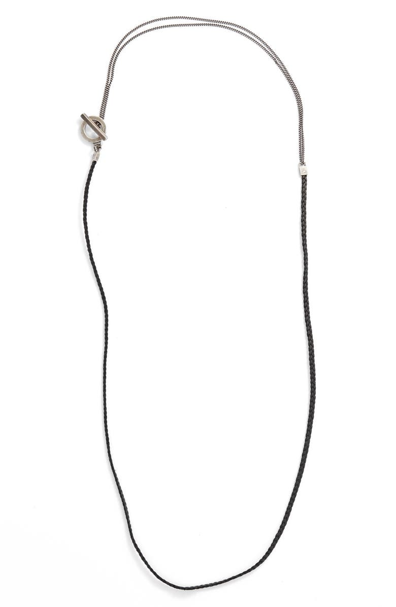 TITLE OF WORK Braided Leather Necklace, Main, color, SILVER/ BLACK
