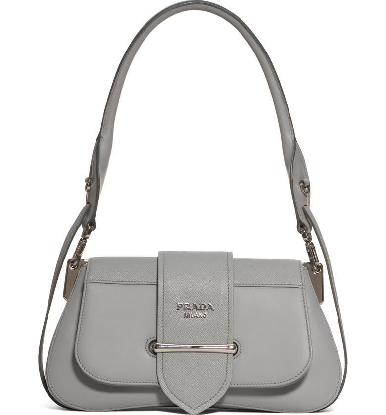 PRADA Sidonie Leather Shoulder Bag, Main, color, NUBE