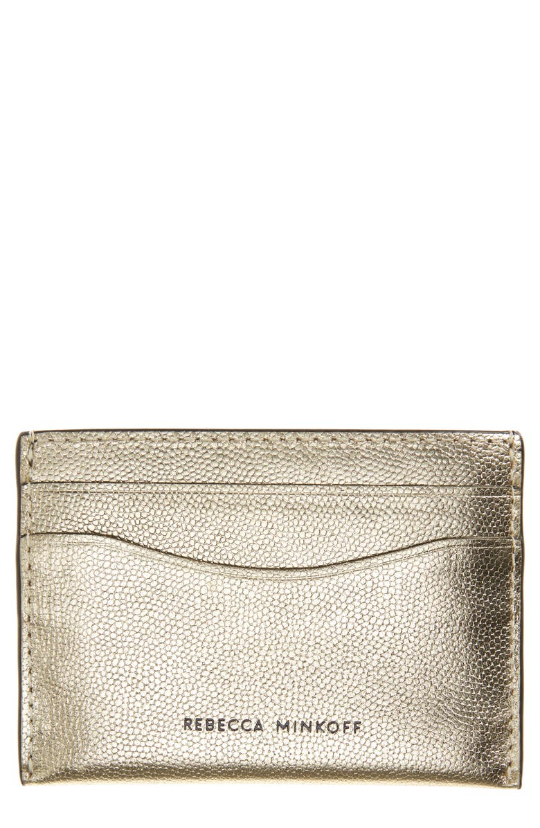 REBECCA MINKOFF Metallic Leather Card Case, Main, color, GOLD