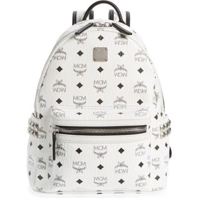 Mcm Small Stark Side Stud Backpack - White