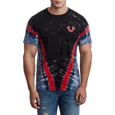 True Religion Brand Jeans Chevron Tie Dye Puff T-Shirt, Black