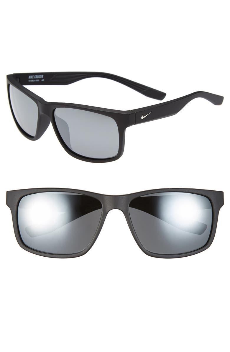 NIKE 'Cruiser' 59mm Sunglasses, Main, color, PAVEMENT BLACK