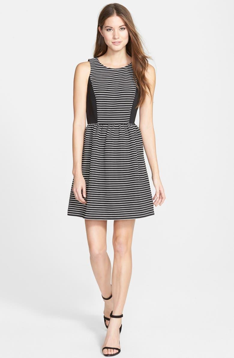 KENSIE Stripe Ribbed Fit & Flare Dress, Main, color, BLACK COMBO