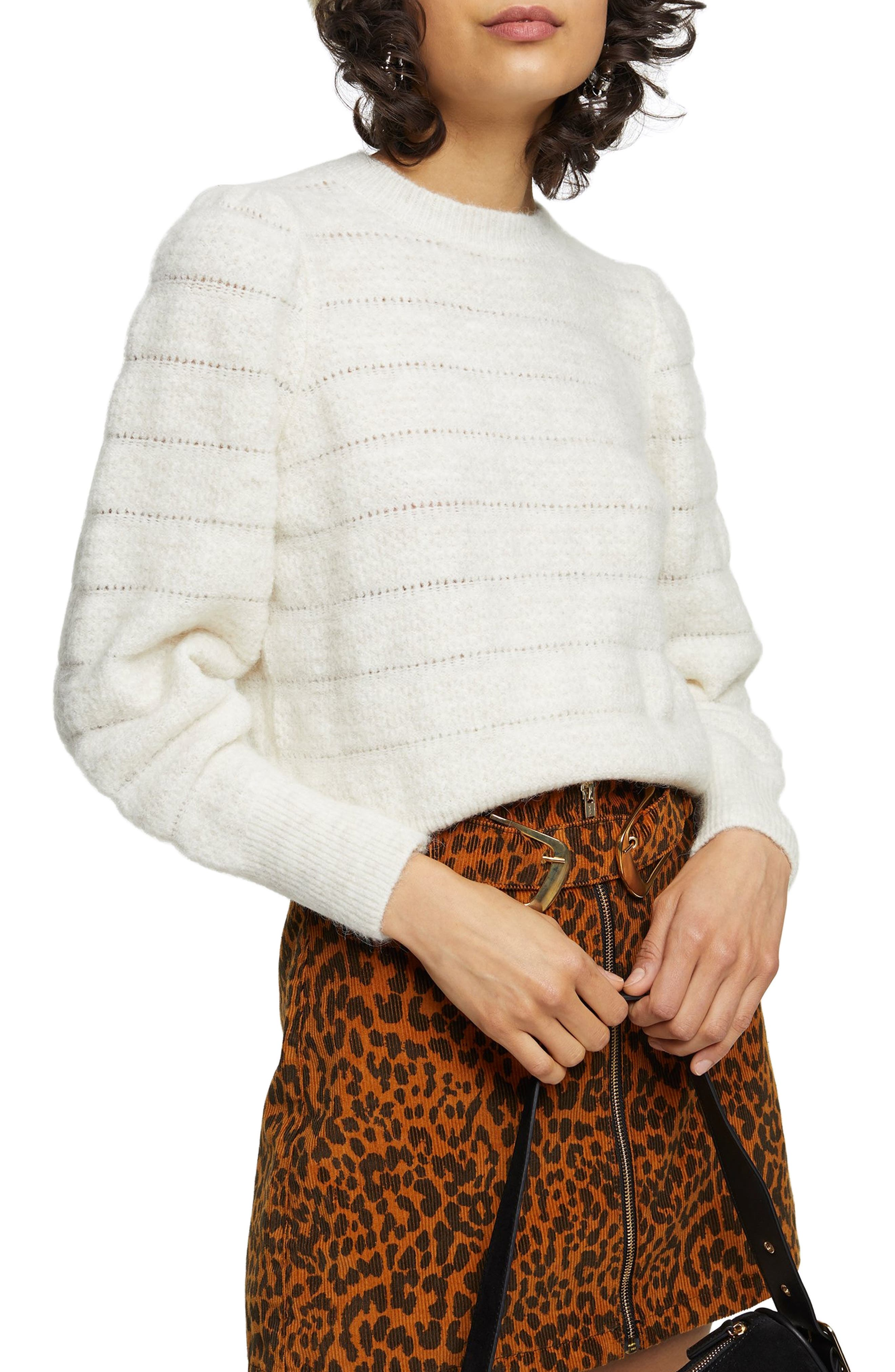 Image of TOPSHOP Pointelle Stripe Sweater