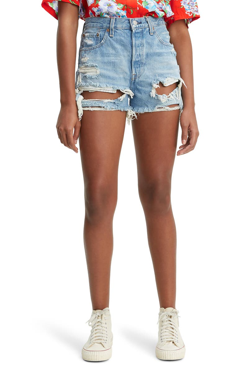 LEVI'S<SUP>®</SUP> 501<sup>®</sup> High Waist Ripped Cutoff Denim Shorts, Main, color, FAULT LINE