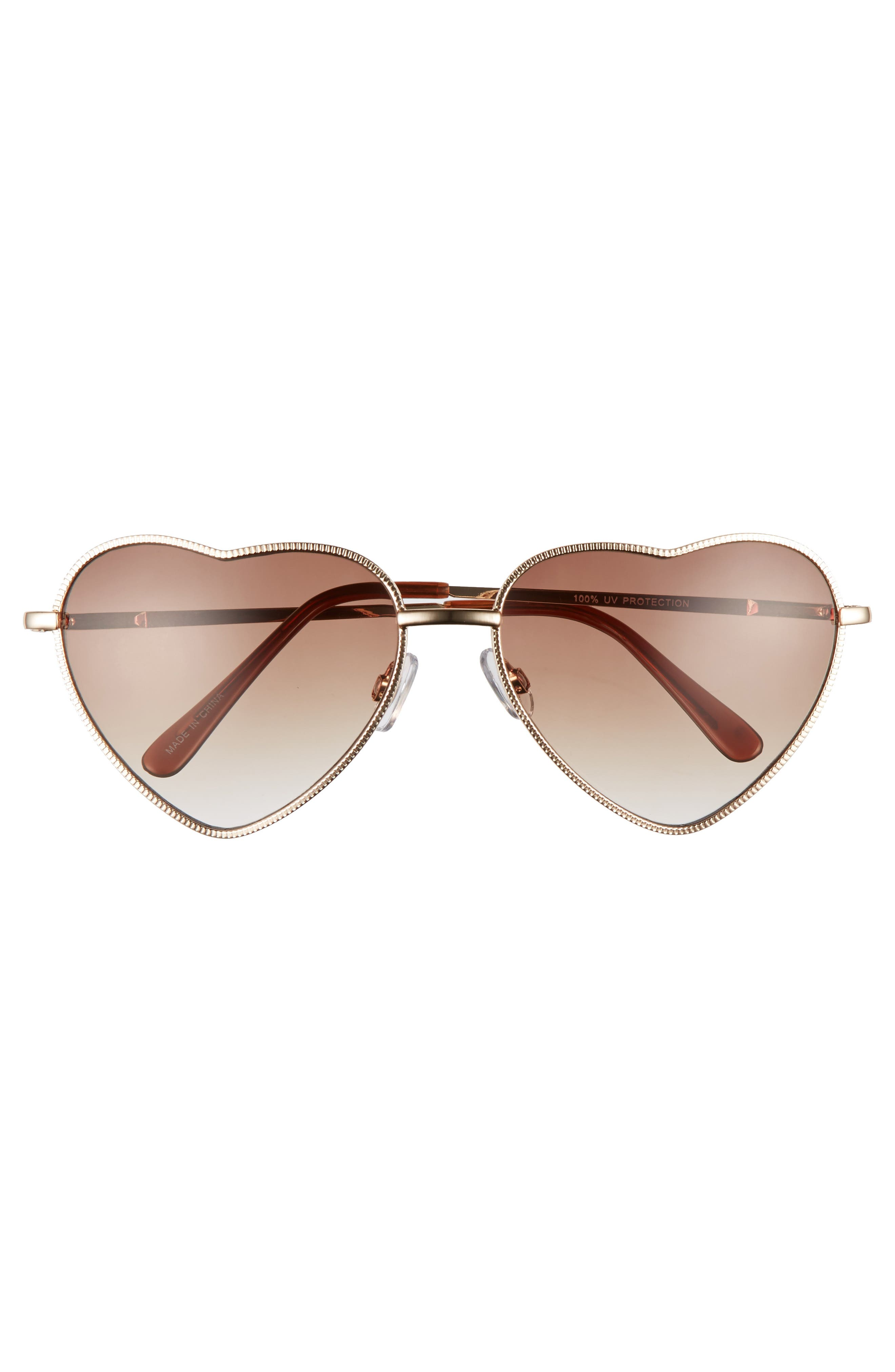 ,                             Heart Shaped 58mm Sunglasses,                             Alternate thumbnail 3, color,                             GOLD/ BROWN